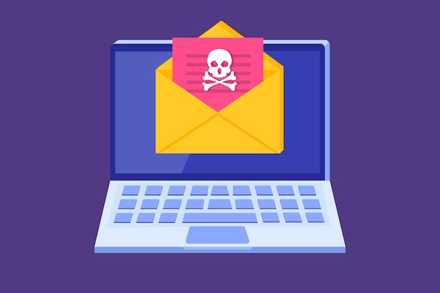 Laptop virus malware trojan notification or alert