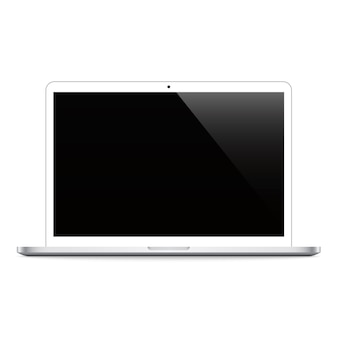 Laptop white color with black screen on white background isolated