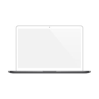 白い背景で隔離の空白の画面とノートパソコンの白い色