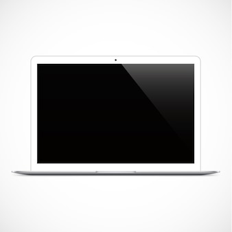 Laptop white color with blank touch screen isolated on the grey background. stock illustration