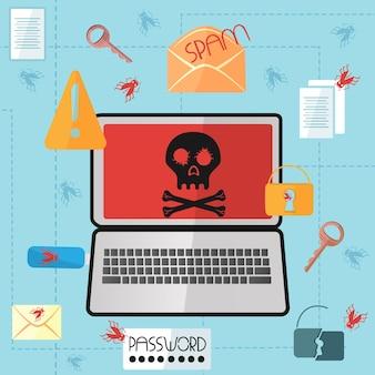 평면 스타일의 화면에 해골이 있는 노트북 인터넷 바이러스가 컴퓨터를 감염시켰습니다. 해커 공격