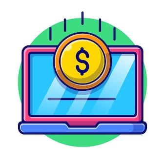Laptop with bill and coin flat illustration
