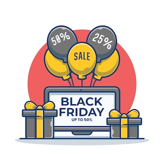 Laptop with black friday onscreen and gift box cartoon illustration
