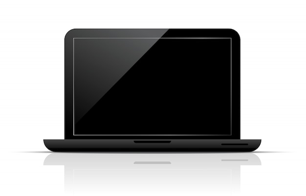 Laptop with black screen.