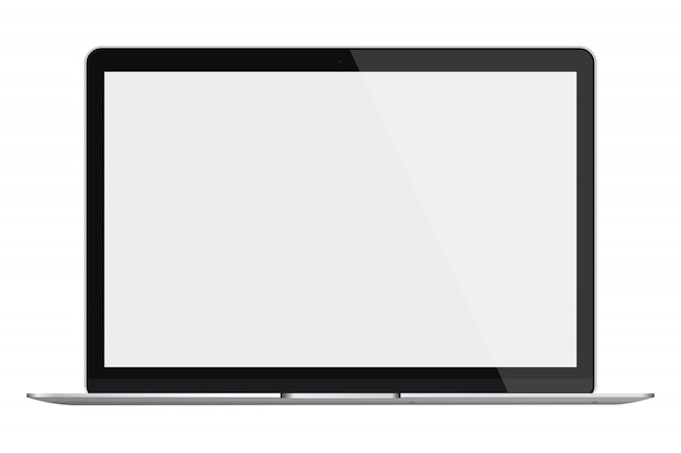 Laptop with blank screen isolated on white background.