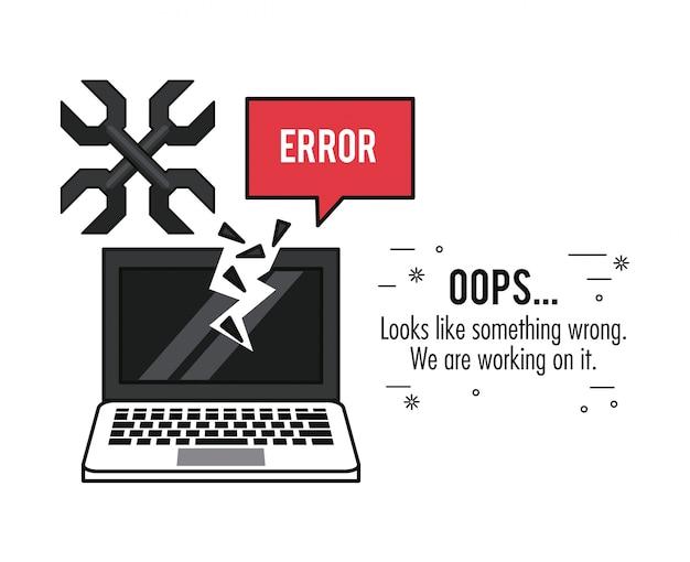画面の壊れたノートパソコンとレンチのエラー