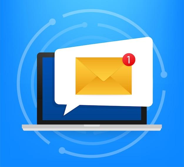 ブラウザと封筒のベクトル図、電子メール受信、サービス、通知のシンボルとラップトップ。ベクトルイラスト