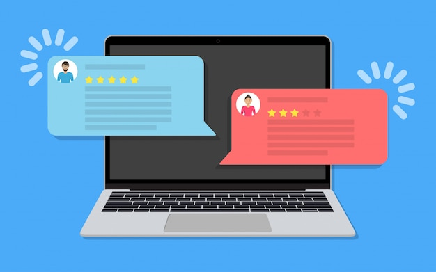 Laptop with chat messaging with customer review rating in a flat design