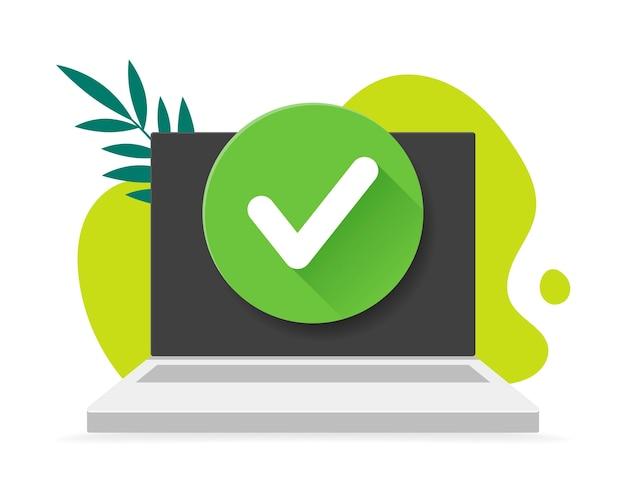 背景の落書きと葉にチェックマークが付いたノートパソコン。図。セキュリティアイコン。承認済みの選択、タスクの完了、更新またはダウンロードの完了、チェックマークの承認または承認。