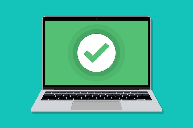 Laptop with check mark window in a flat design.  of check for laptop in a flat design
