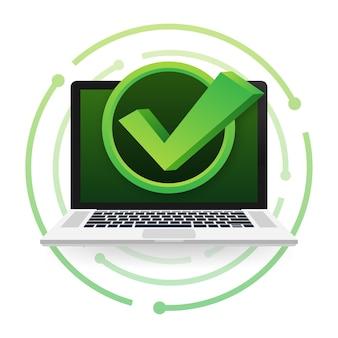 거품에 체크 표시 또는 틱 알림이 있는 노트북. 승인된 선택입니다. 확인 표시를 수락하거나 승인합니다. 벡터 일러스트 레이 션.
