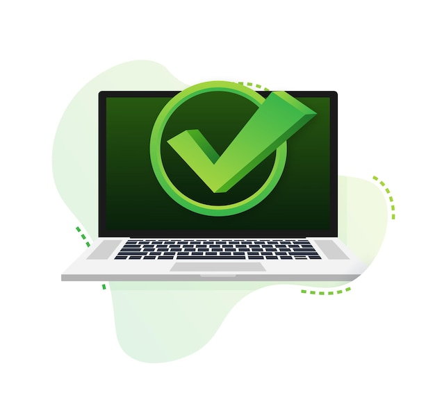 バブルパターンのチェックマークまたはティック通知付きのラップトップ。承認された選択。チェックマークを受け入れるか承認します。ベクトルイラスト。