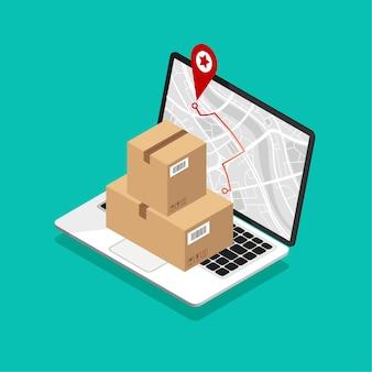 画面に市街地図ナビゲーションを備えたノートパソコン。段ボール箱とgpsによる技術提供のコンセプト。