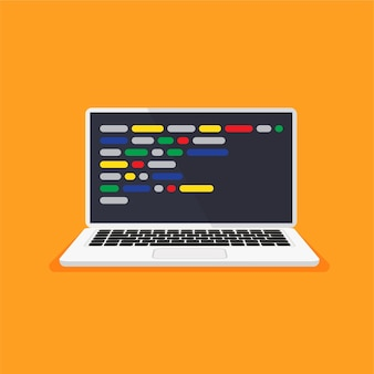 Laptop with code on a display web developer design programming coding concept
