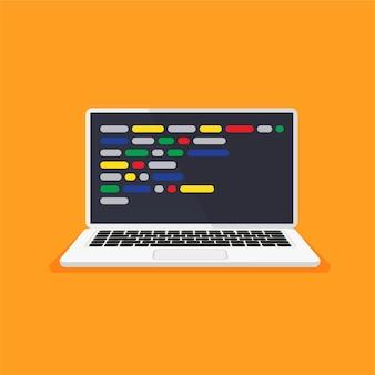 디스플레이에 코드가 있는 노트북 웹 개발자 디자인 프로그래밍 코딩 개념