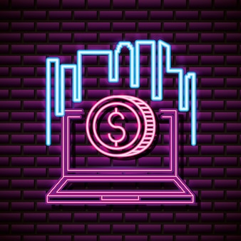 Laptop with coin, brick wall, neon style