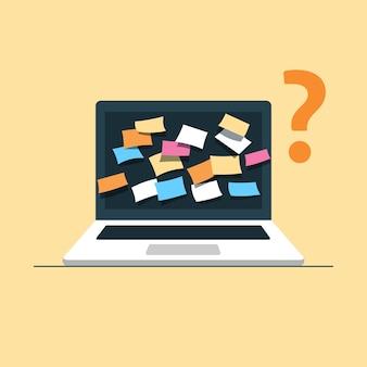 빈 화면에 다채로운 스티커 메모와 노트북