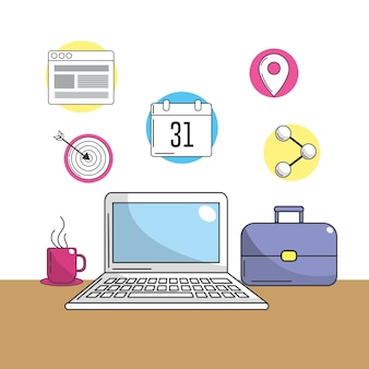정보에 회사 도구가있는 노트북