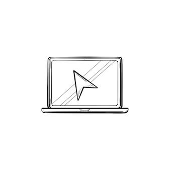 カーソルの手描きのアウトライン落書きアイコンとラップトップ。ラップトップとカーソルクリックを使用して、クリックの概念を検索します。白い背景の上の印刷、ウェブ、モバイル、インフォグラフィックのベクトルスケッチイラスト。