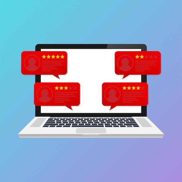 カスタマーレビュー評価メッセージ付きのラップトップ。デスクトップpcディスプレイとオンラインレビューまたはクライアントの声