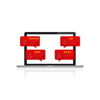 顧客レビュー評価メッセージ付きのラップトップ。デスクトップpcディスプレイとオンラインレビューまたはクライアントの声