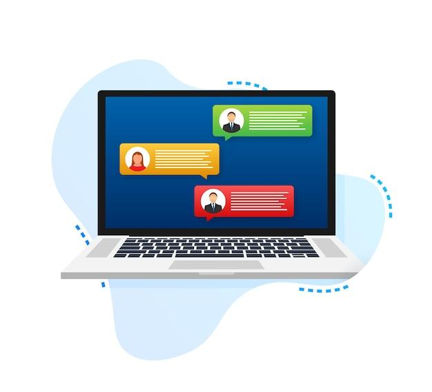 고객 리뷰 평가 메시지가 있는 노트북 노트북 디스플레이 및 온라인 리뷰