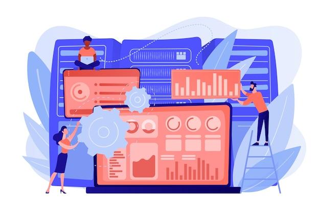 데이터 시각화 소프트웨어와 개발자가 작업하는 노트북. 빅 데이터 시각화, 빅 데이터 분석, 시각화 소프트웨어 개념