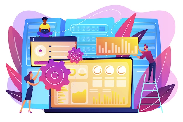 Laptop with data visualization software and developers working. big data visualization, big data analytics, visualization software concept. bright vibrant violet  isolated illustration