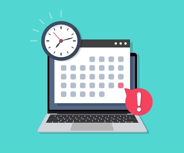 フラットなデザインの締め切りカレンダーの日付と時計を備えたラップトップ