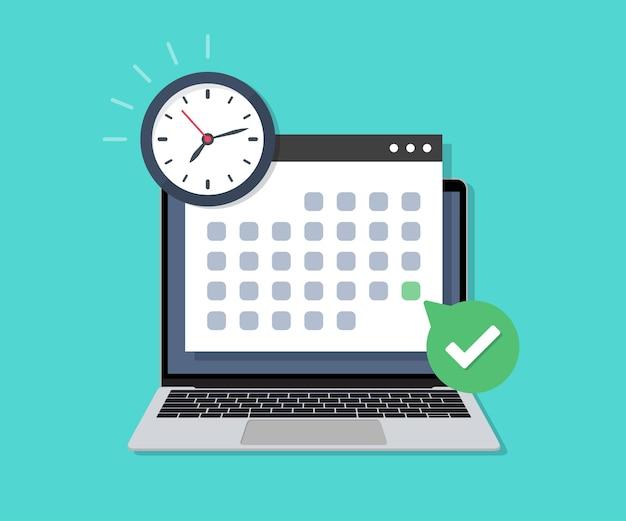 フラットなデザインの締め切りチェックカレンダーの日付と時計を備えたラップトップ