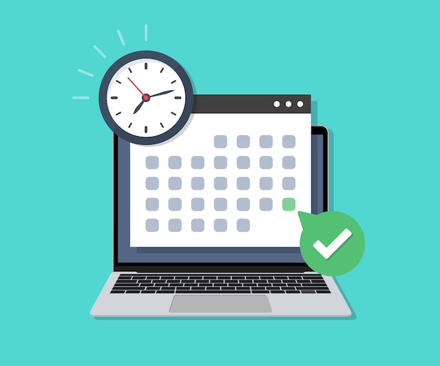 Laptop with deadline check calendar date and clock in a flat design