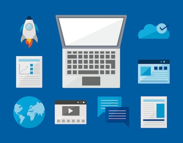 青い背景にデジタルアイコンを設定したノートパソコン