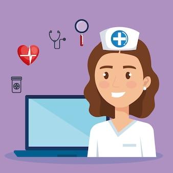 医者のキャラクターと遠隔医療のアイコンを持つラップトップ