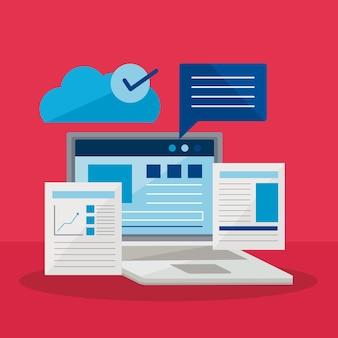 Ноутбук с документами и пузырем на красном фоне