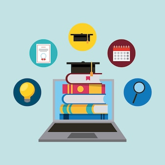 Laptop with e-books graduation cap learning online education