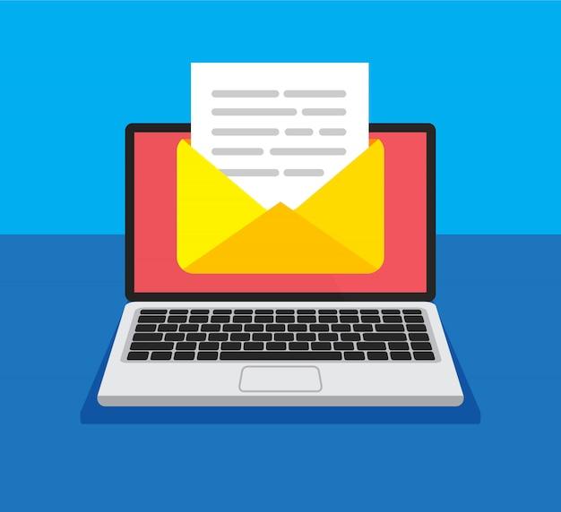 画面上の封筒とドキュメントのラップトップ。新しい手紙を取得または送信します。電子メール、メールマーケティング、トレンディなスタイルのインターネット広告の概念。図。