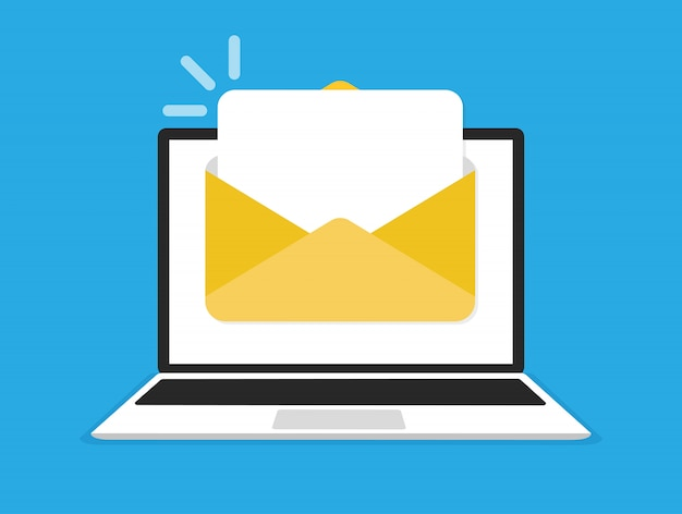 Laptop with envelope and document on screen. e-mail, email icon