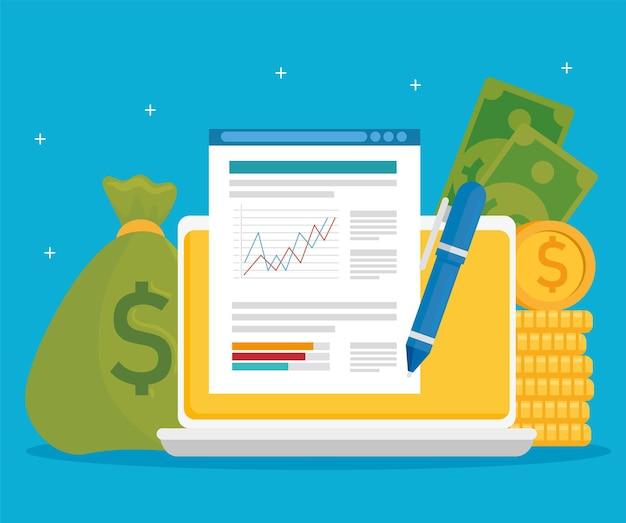 Ноутбук с финансовым документом и деньгами