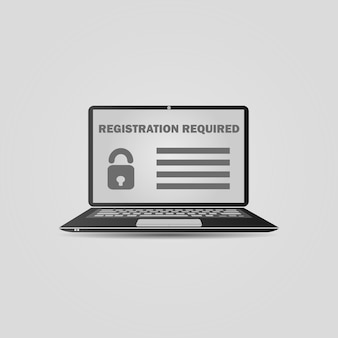 Laptop with a form template registration screen.