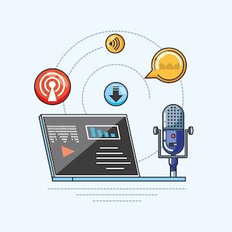 Laptop with gadget of digital audio studio