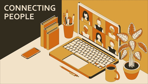 화상 회의를하는 사람들의 그룹과 노트북입니다. 원격 회의를 통해 온라인 학습 또는 회의.