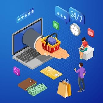 手とショッピングカート、お金、人々とノートパソコン。インターネットショッピングとオンライン電子決済の概念。等尺性のアイコン。