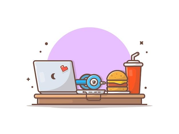 ヘッドフォン、ハンバーガー、ソーダのイラストとラップトップ