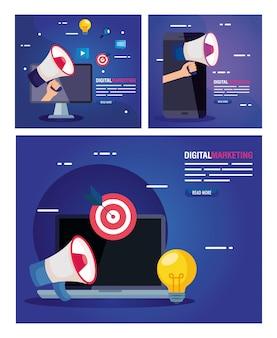 디지털 마케팅의 아이콘 세트와 노트북