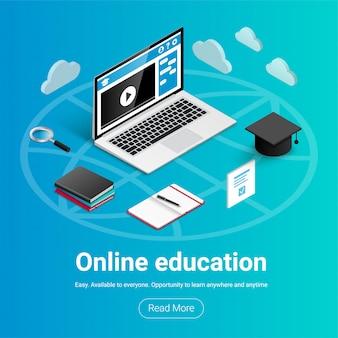 周りのアイコンが付いたラップトップ。オンライン教育バナー