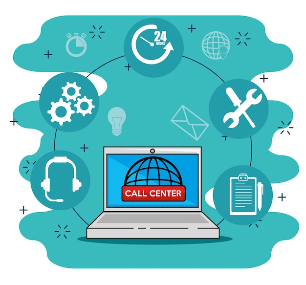 Laptop with icons , worldwide support service center