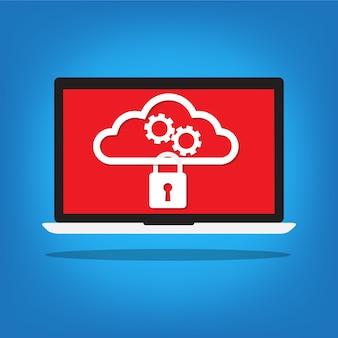 Laptop with a key lock on cloud gear