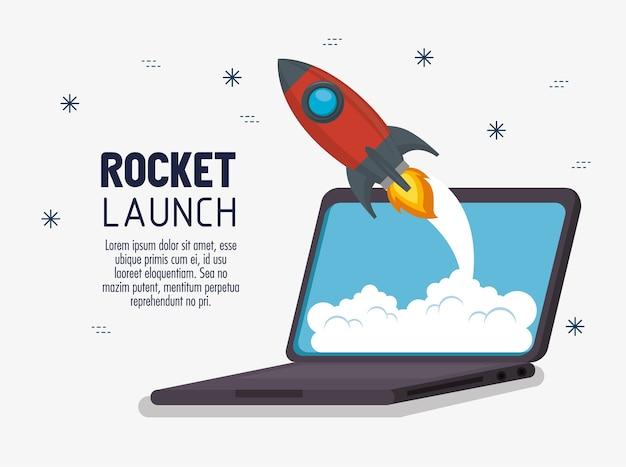 Laptop with launcher rocket