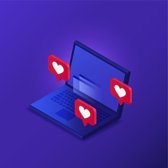 Laptop with likes in isometric