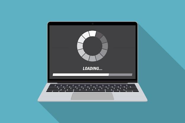フラットなデザインのローディングプロセスシステムを搭載したラップトップ